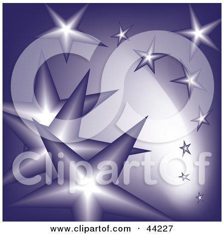 Clipart Illustration of a Background Of Falling Purple Stars by kaycee