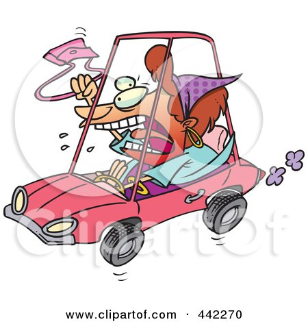 Royalty-Free (RF) Clip Art Illustration of a Cartoon Female Driver With Road Rage by toonaday