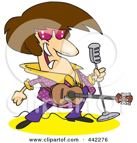 Royalty-Free (RF) Clip Art Illustration of a Cartoon Rocker With A Microphone And Guitar by toonaday