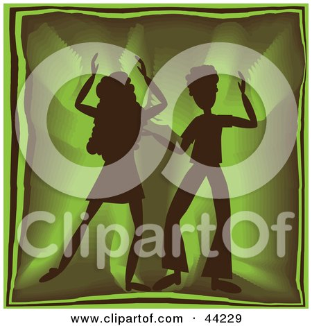 Clipart Illustration of a Silhouetted Dancing Couple Grooving At A Green Party by kaycee
