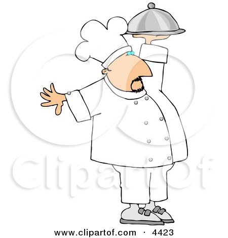 Professional Male Chef Carrying A Covered Serving Plate Clipart