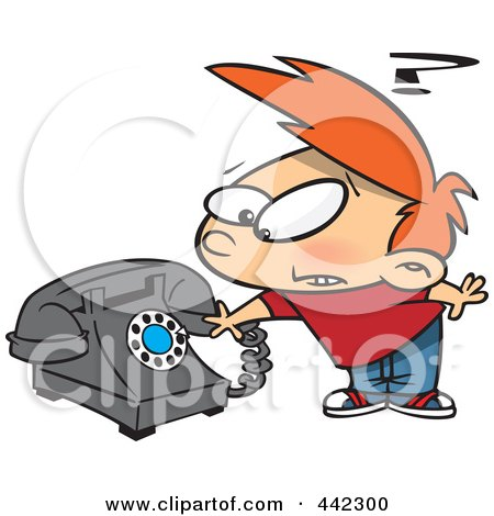 Royalty-Free (RF) Clip Art Illustration of a Cartoon Boy Trying To Use A Rotary Phone by toonaday