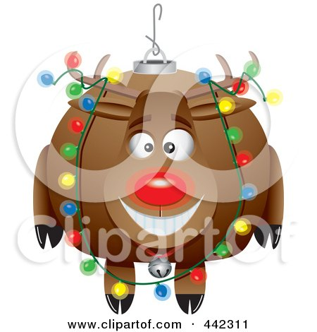 Royalty-Free (RF) Clip Art Illustration of a Cartoon Black And White Outline Design Of A Rudolph Ornament by toonaday