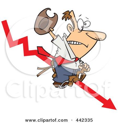 Royalty-Free (RF) Clip Art Illustration of a Cartoon Businessman Riding A Downwards Arrow Like A Cowboy by toonaday