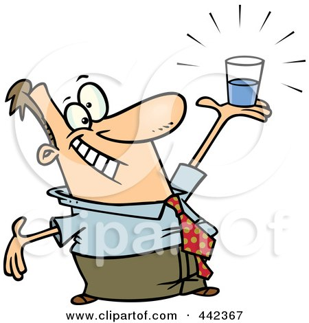 Royalty-Free (RF) Clip Art Illustration of a Cartoon Businessman Holding A Glass Half Full by toonaday