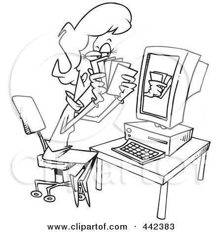 Royalty-Free (RF) Clip Art Illustration of a Cartoon Black And White Outline Design Of A Woman Playing Poker Online by toonaday