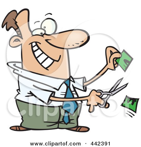 Royalty-Free (RF) Clip Art Illustration of a Cartoon Businessman Cutting His Price In Half by toonaday