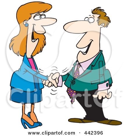 Royalty-Free (RF) Clip Art Illustration of a Cartoon Businessman And Woman Shaking Hands by toonaday
