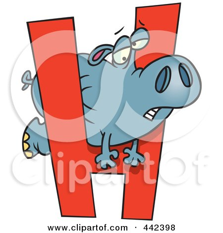 Royalty-Free (RF) Clip Art Illustration of a Cartoon Hippo Squeezing Through A Letter H by toonaday