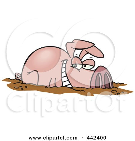 Cartoon Pig In Mud Puddle A cartoon happy pig in a