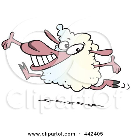 Royalty-Free (RF) Clip Art Illustration of a Cartoon Happy Lamb Leaping by toonaday