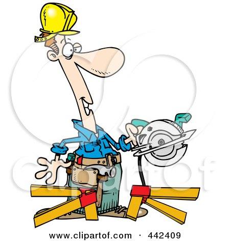 Royalty-Free (RF) Clip Art Illustration of a Cartoon Repair Man Using A Circular Saw by toonaday
