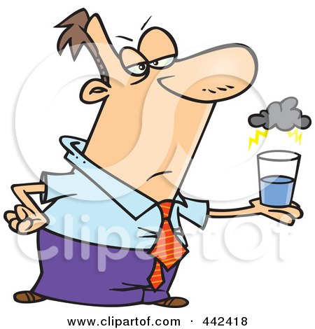 Royalty-Free (RF) Clip Art Illustration of a Cartoon Businessman Viewing A Glass Half Empty by toonaday