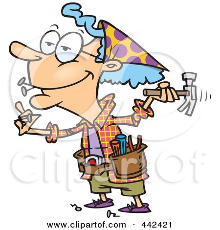 Royalty-Free (RF) Clip Art Illustration of a Cartoon Handy Granny Using A Hammer by toonaday