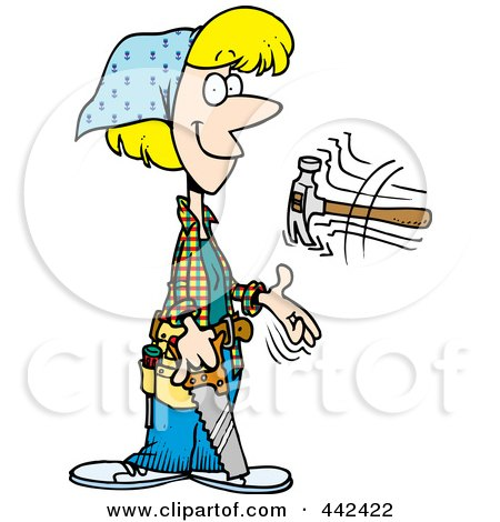 Royalty-Free (RF) Clip Art Illustration of a Cartoon Female Carpenter Holding A Saw And Tossing A Hammer by toonaday