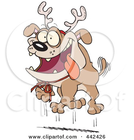 Royalty-Free (RF) Clip Art Illustration of a Cartoon Christmas Bulldog Wearing Antlers by toonaday