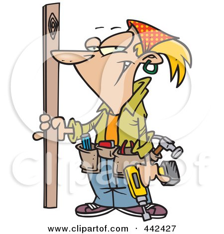 Royalty-Free (RF) Clip Art Illustration of a Cartoon Handy Woman Holding A Board by toonaday