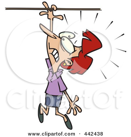 Royalty-Free (RF) Clip Art Illustration of a Cartoon Businesswoman Losing Her Grip by toonaday