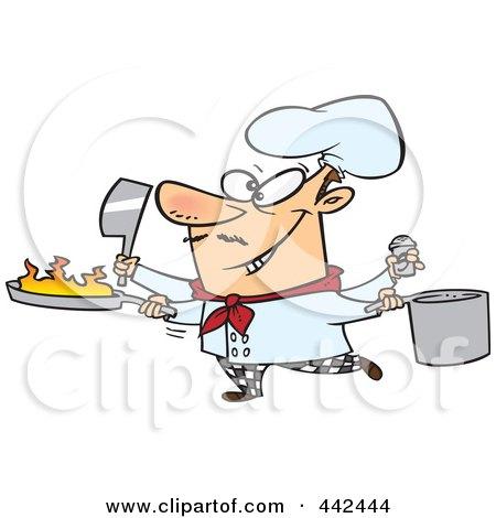 Royalty-Free (RF) Clip Art Illustration of a Cartoon Multi Tasking Chef by toonaday