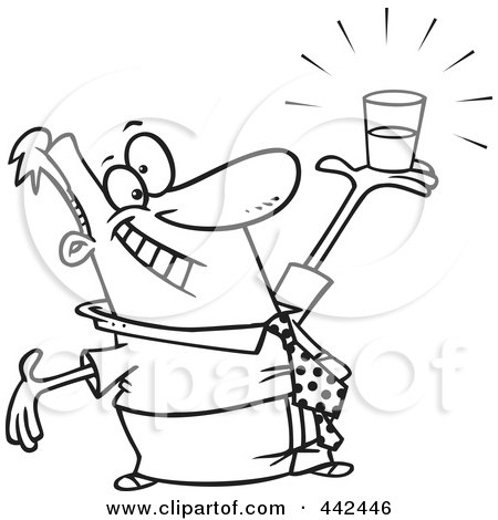 Royalty-Free (RF) Clip Art Illustration of a Cartoon Black And White Outline Design Of A Businessman Holding A Glass Half Full by toonaday