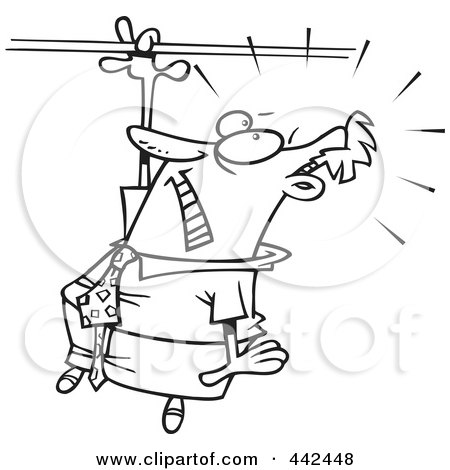 Royalty-Free (RF) Clip Art Illustration of a Cartoon Black And White Outline Design Of A Businessman Losing His Grip by toonaday