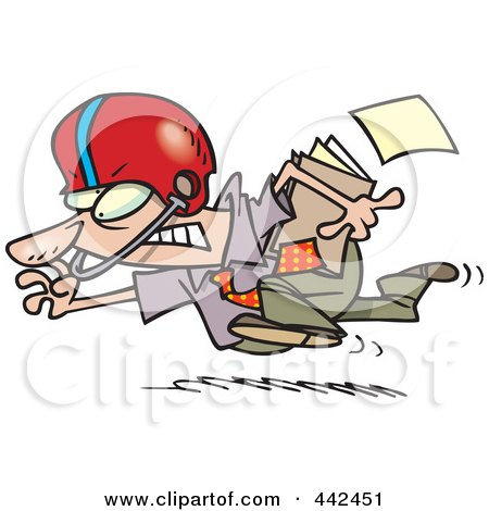 Royalty-Free (RF) Clip Art Illustration of a Cartoon Businessman Running With A File And Wearing A Helmet by toonaday