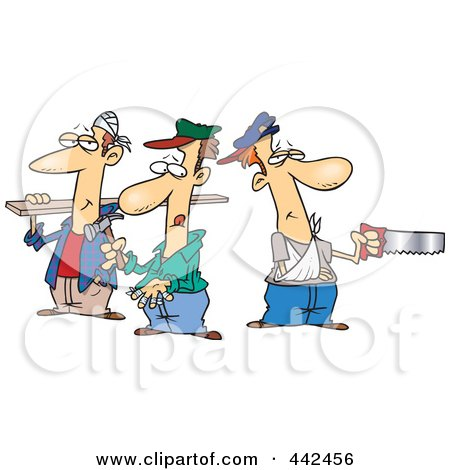 Royalty-Free (RF) Clip Art Illustration of a Cartoon Team Of Three Accident Prone Handy Men by toonaday