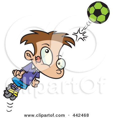Royalty-Free (RF) Clip Art Illustration of a Cartoon Soccer Boy Bouncing A Ball Off His Head by toonaday