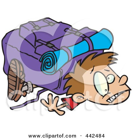 Royalty-Free (RF) Clip Art Illustration of a Cartoon Boy Crushed Under A Heavy Hiking Backpack by toonaday