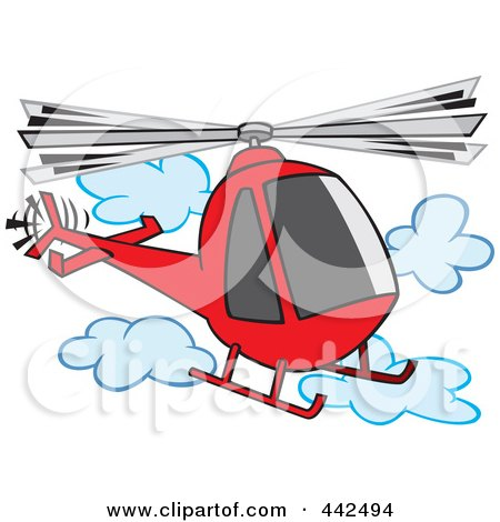 Royalty-Free (RF) Clip Art Illustration of a Cartoon Helicopter In The Clouds by toonaday