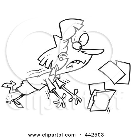 Royalty-Free (RF) Clip Art Illustration of a Cartoon Black And White Outline Design Of A Businesswoman Breaking Her Heel And Spilling Files by toonaday