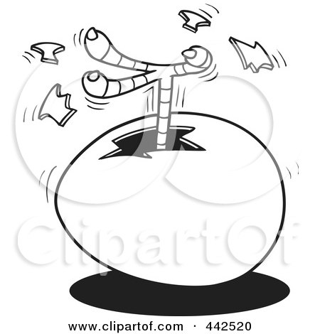 Royalty-Free (RF) Clip Art Illustration of a Cartoon Black And White Outline Design Of A Chick Kicking A Foot Out Of An Egg by toonaday