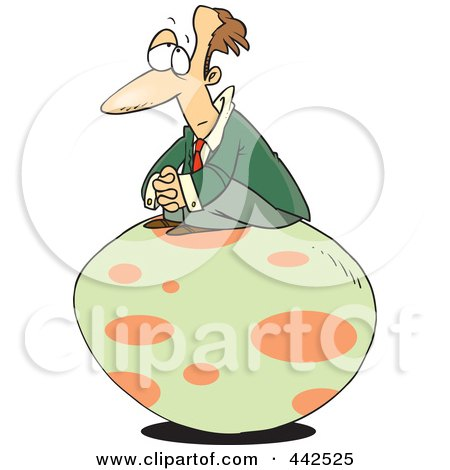 Royalty-Free (RF) Clip Art Illustration of a Cartoon Businessman Waiting For An Egg To Hatch by toonaday