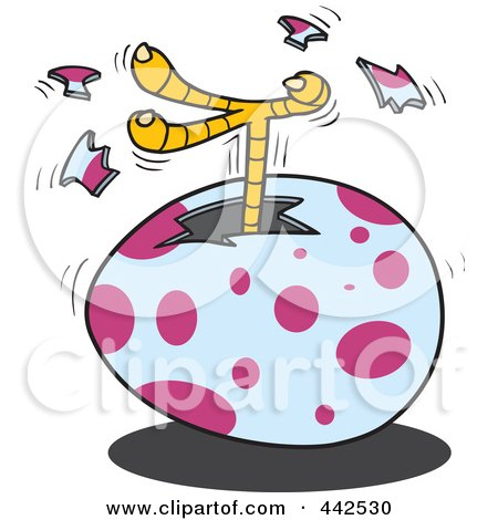 Royalty-Free (RF) Clip Art Illustration of a Cartoon Chick Kicking A Foot Out Of An Egg by toonaday