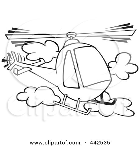 Royalty-Free (RF) Clip Art Illustration of a Cartoon Black And White Outline Design Of A Helicopter In The Clouds by toonaday