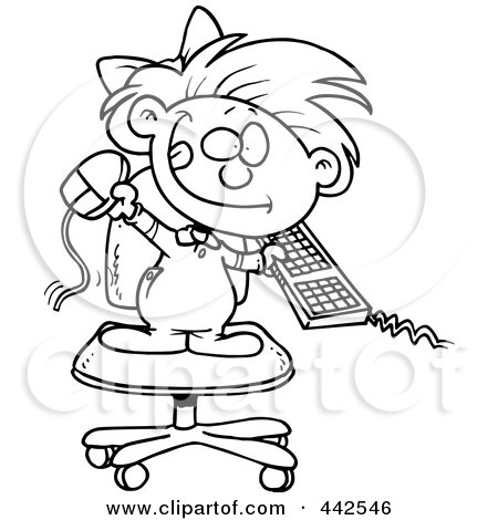 Royalty-Free (RF) Clip Art Illustration of a Cartoon Black And White Outline Design Of A Little Girl Attacking A Computer by toonaday