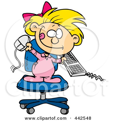Royalty-Free (RF) Clip Art Illustration of a Cartoon Little Girl Attacking A Computer by toonaday