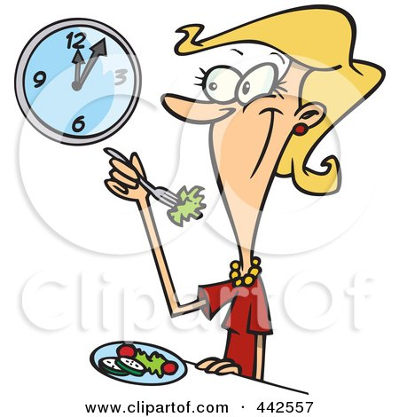 Royalty-Free (RF) Clip Art Illustration of a Cartoon Woman Eating A Healthy Lunch by toonaday