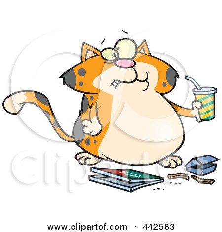 Royalty-Free (RF) Clip Art Illustration of a Cartoon Fat Orange Cat Binging Fast Food by toonaday