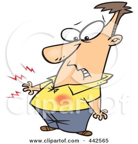 Royalty-Free (RF) Clip Art Illustration of a Cartoon Man Feeling Heart Burn by toonaday