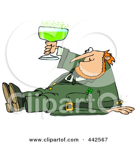 Royalty-Free (RF) Clip Art Illustration of a Drunk Leprechaun Sitting On The Floor And Toasting by djart