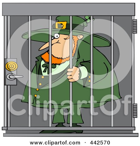 Royalty-Free (RF) Clip Art Illustration of a Locked Up Leprechaun  by djart