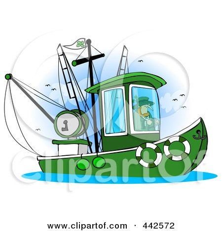 Royalty-Free (RF) Clip Art Illustration of a Leprechaun Steering A Fishing Boat by Dennis Cox