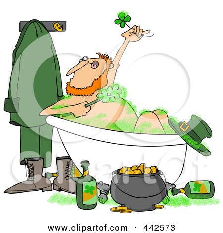 Royalty-Free (RF) Clip Art Illustration of a Leprechaun Bathing With Green Suds And Alcohol by djart