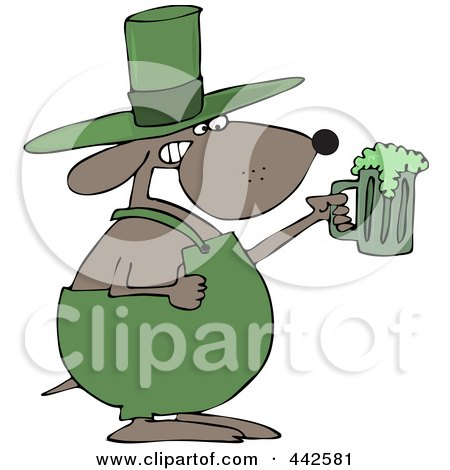 Royalty-Free (RF) Clip Art Illustration of a St Patricks Day Dog Holding A Green Beer by djart