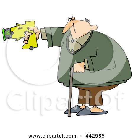 Royalty-Free (RF) Clip Art Illustration of an Old Man Balancing With His Cane And Pointing A Taser Gun by djart