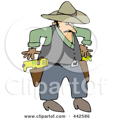 Royalty-Free (RF) Clip Art Illustration of a Cowboy Drawing Taser Guns by djart