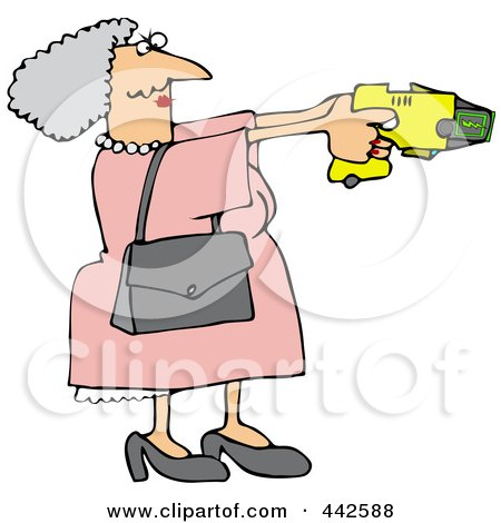 Royalty-Free (RF) Clip Art Illustration of a Granny Defending Herself With A Taser Gun by djart