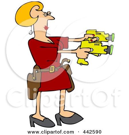 Royalty-Free (RF) Clip Art Illustration of a Blond Woman Drawing Two Taser Guns by djart