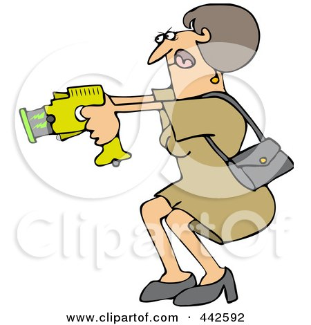 Royalty-Free (RF) Clip Art Illustration of a Woman Defending Herself With A Taser Gun by djart